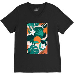 Oranges, exotic jungle fruits and plants illustration in vector. V-Neck Tee | Artistshot