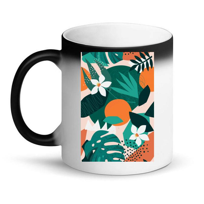 Oranges, Exotic Jungle Fruits And Plants Illustration In Vector. Magic Mug | Artistshot