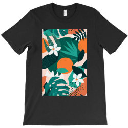Oranges, exotic jungle fruits and plants illustration in vector. T-Shirt | Artistshot