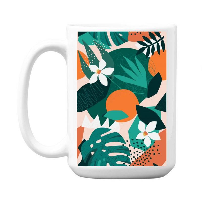 Oranges, Exotic Jungle Fruits And Plants Illustration In Vector. 15 Oz Coffe Mug | Artistshot