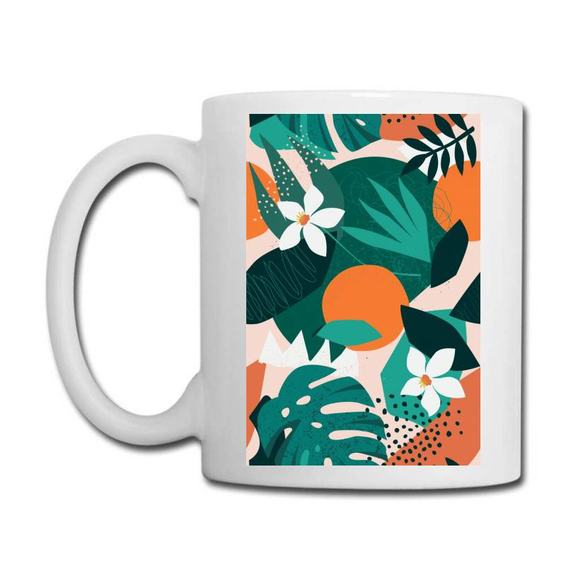 Oranges, Exotic Jungle Fruits And Plants Illustration In Vector. Coffee Mug | Artistshot