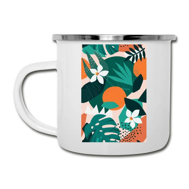 Oranges, Exotic Jungle Fruits And Plants Illustration In Vector. Camper Cup | Artistshot