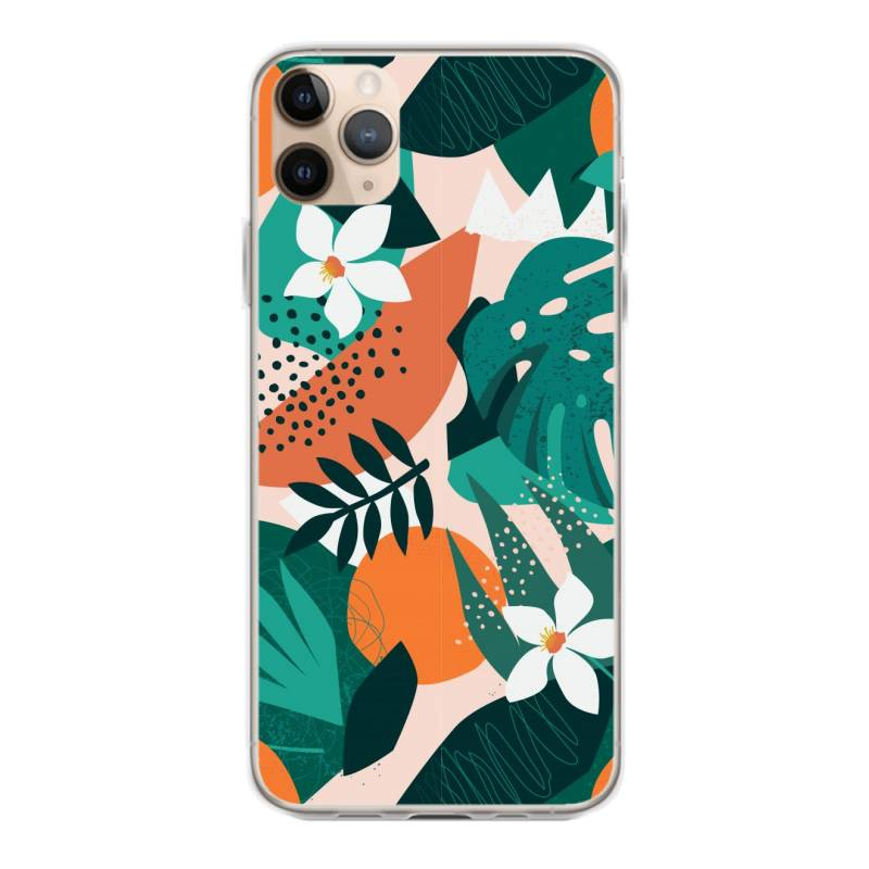 Oranges, Exotic Jungle Fruits And Plants Illustration In Vector. Iphone 11 Pro Max Case | Artistshot