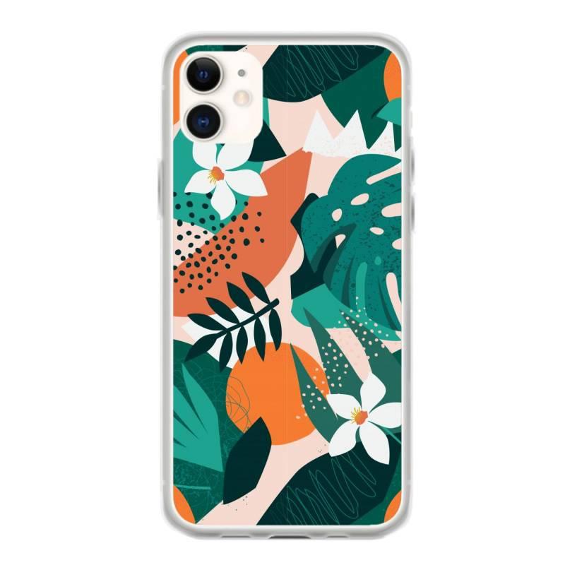 Oranges, Exotic Jungle Fruits And Plants Illustration In Vector. Iphone 11 Case | Artistshot