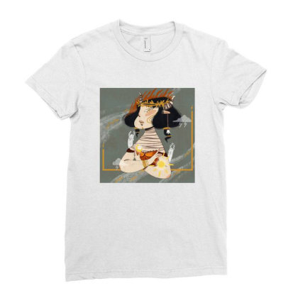 Moon And Sun Ladies Fitted T-shirt Designed By Derinaslan