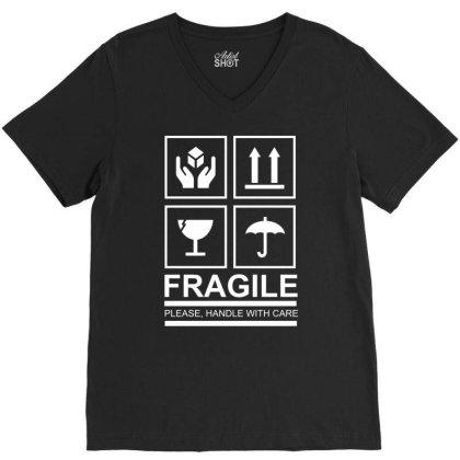 Fragile V-neck Tee Designed By Vanotees