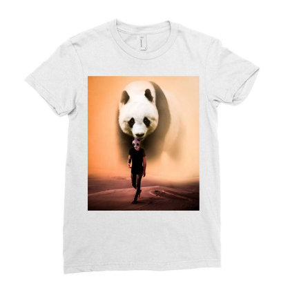 Panda Ladies Fitted T-shirt Designed By Sherif.arts