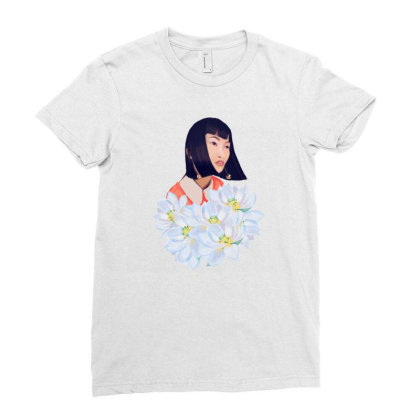 Woman With Lotus Flowers Ladies Fitted T-shirt Designed By Criky