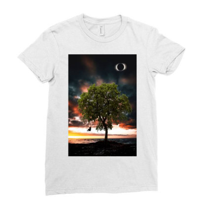 Tree Ladies Fitted T-shirt Designed By Sherif.arts