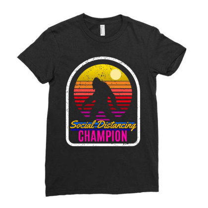 Social Distancing Champ Ladies Fitted T-shirt Designed By Animestars
