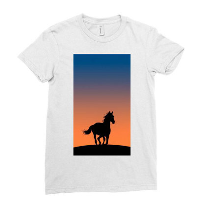 Horse Silhouette Ladies Fitted T-shirt Designed By Sherif.arts