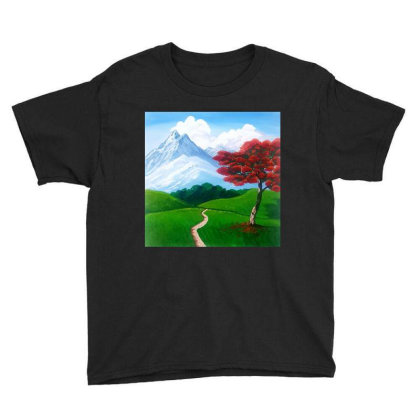 Landscape With Fire Tree Youth Tee Designed By Mahroona's Art
