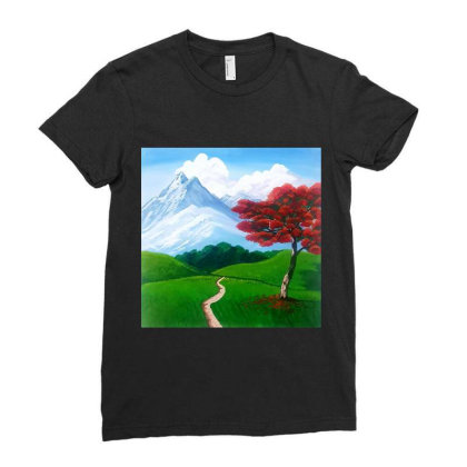 Landscape With Fire Tree Ladies Fitted T-shirt Designed By Mahroona's Art
