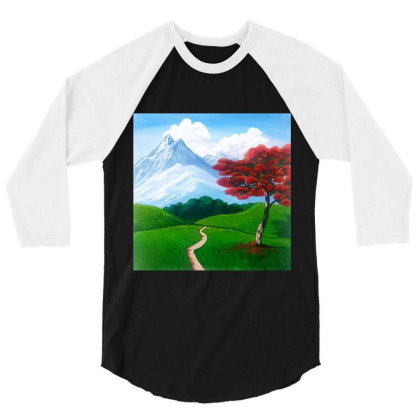 Landscape With Fire Tree 3/4 Sleeve Shirt Designed By Mahroona's Art