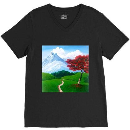 Landscape With Fire Tree V-neck Tee Designed By Mahroona's Art