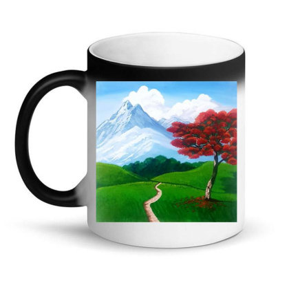 Landscape With Fire Tree Magic Mug Designed By Mahroona's Art