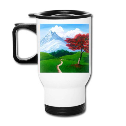 Landscape With Fire Tree Travel Mug Designed By Mahroona's Art