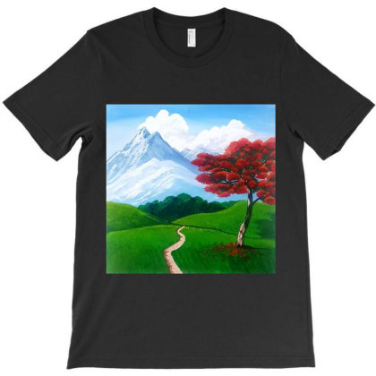 Landscape With Fire Tree T-shirt Designed By Mahroona's Art