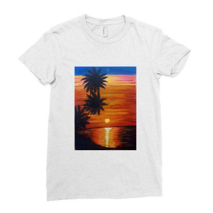 Sunset Ladies Fitted T-shirt Designed By Mahroona's Art