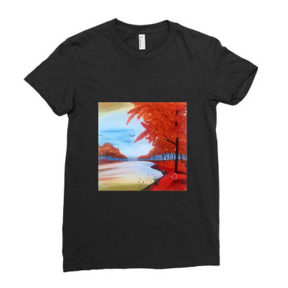 Spring Landscape Ladies Fitted T-shirt Designed By Mahroona's Art