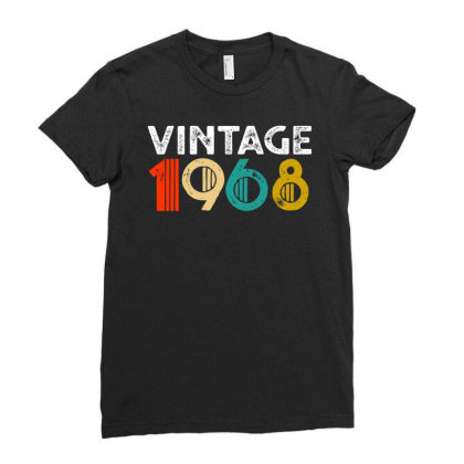Vintage 1968   50th Birthday Ladies Fitted T-shirt Designed By Coolkids