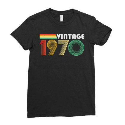 Vintage 1970, 50th Birthday Ladies Fitted T-shirt Designed By Coolkids