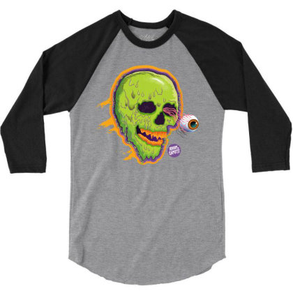 Eyeball Green Skull Caputti 3/4 Sleeve Shirt Designed By Johny Caputti