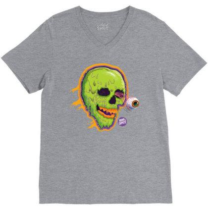Eyeball Green Skull Caputti V-neck Tee Designed By Johny Caputti