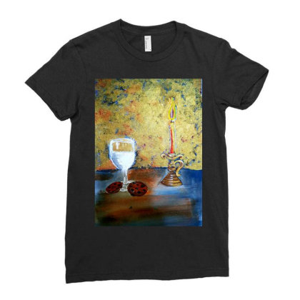 Candle Light Ladies Fitted T-shirt Designed By Mahroona's Art