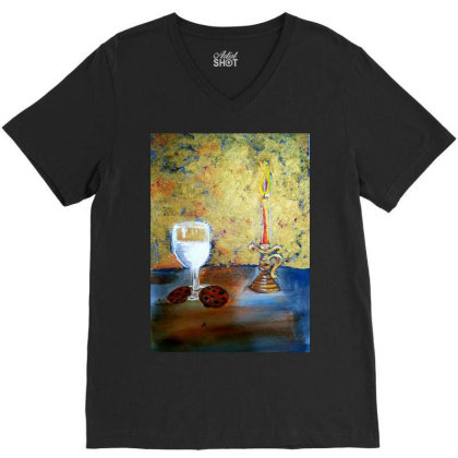 Candle Light V-neck Tee Designed By Mahroona's Art