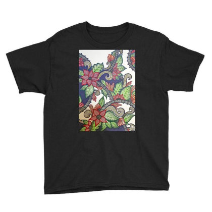 Floral Design Youth Tee Designed By Mahroona's Art