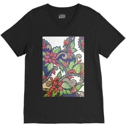 Floral Design V-neck Tee Designed By Mahroona's Art