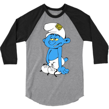 Tierd Smurf 3/4 Sleeve Shirt Designed By Radarts