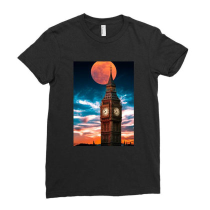 Clock Tower Ladies Fitted T-shirt Designed By Sherif.arts