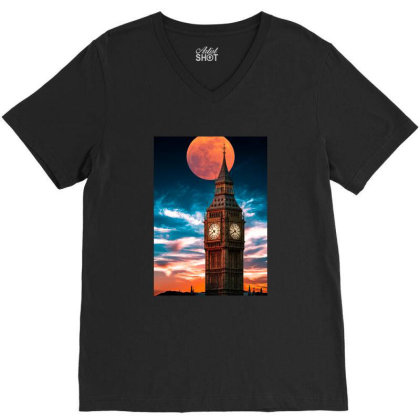 Clock Tower V-neck Tee Designed By Sherif.arts