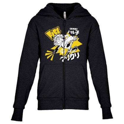 Flcl Youth Zipper Hoodie Designed By Paísdelasmáquinas