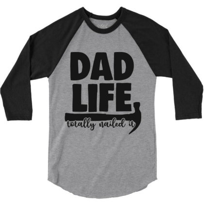 Dad Life 3/4 Sleeve Shirt Designed By Qudkin