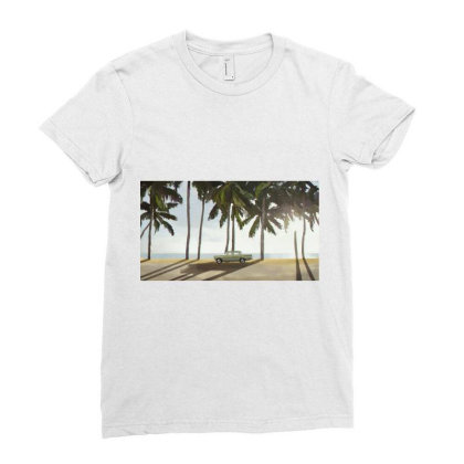 Palm Trees And A Car Ladies Fitted T-shirt Designed By Sasha_palm