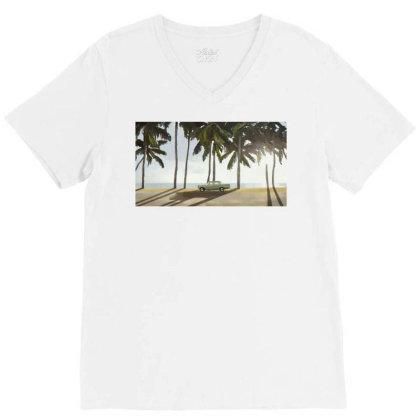 Palm Trees And A Car V-neck Tee Designed By Sasha_palm