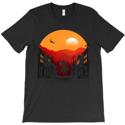 Sunset Of The Cowboy Town T-shirt Designed By Honeysuckle