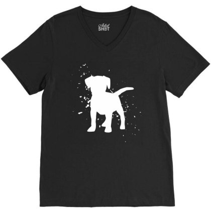 Puppy - Graphic Fashion V-neck Tee Designed By Word Power