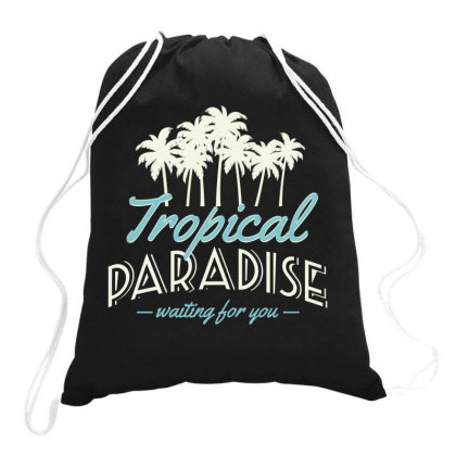 Tropical Paradise, Waiting For You Drawstring Bags Designed By Estore