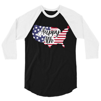Happy 4th 3/4 Sleeve Shirt Designed By Qudkin
