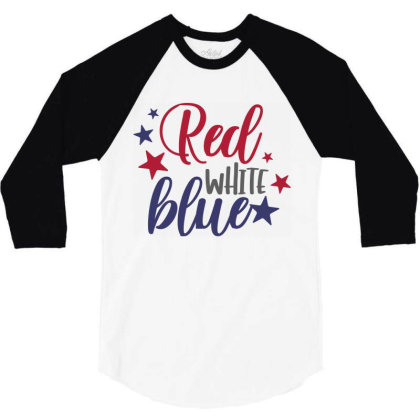 Red White Blue 3/4 Sleeve Shirt Designed By Qudkin