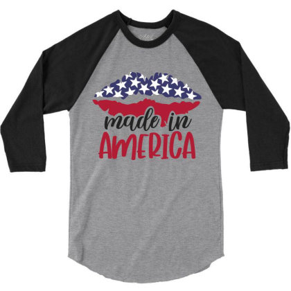 Made In America 3/4 Sleeve Shirt Designed By Qudkin