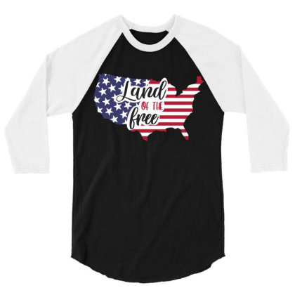 Land Of The Free 3/4 Sleeve Shirt Designed By Qudkin