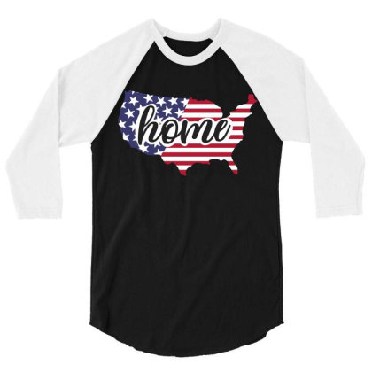 Home Usa 3/4 Sleeve Shirt Designed By Qudkin