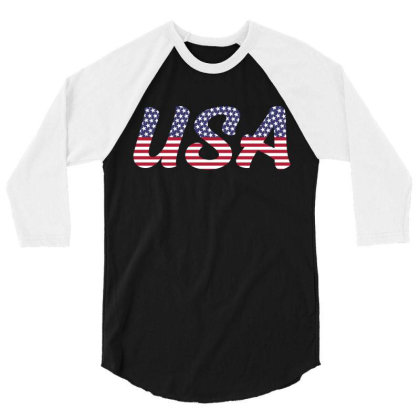 Usa 3/4 Sleeve Shirt Designed By Qudkin