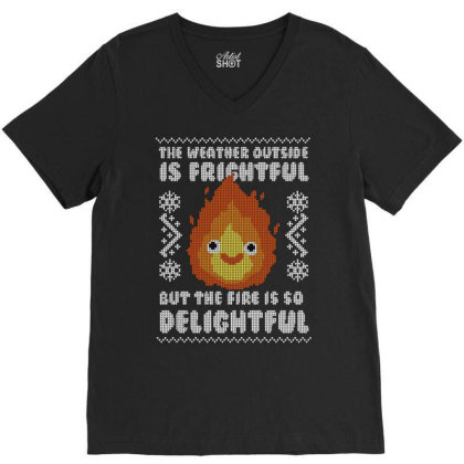 Delightful Fire! V-neck Tee Designed By Raffiti