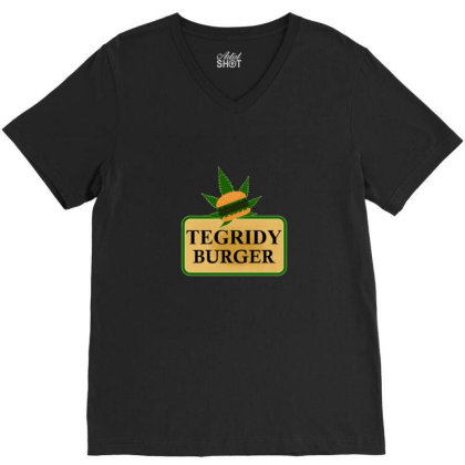 Tegridy Burger V-neck Tee Designed By Blackstone